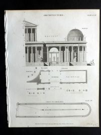 Rees 1820 Antique Print. Architecture 06 Caracalla Profile & Plan. Italy